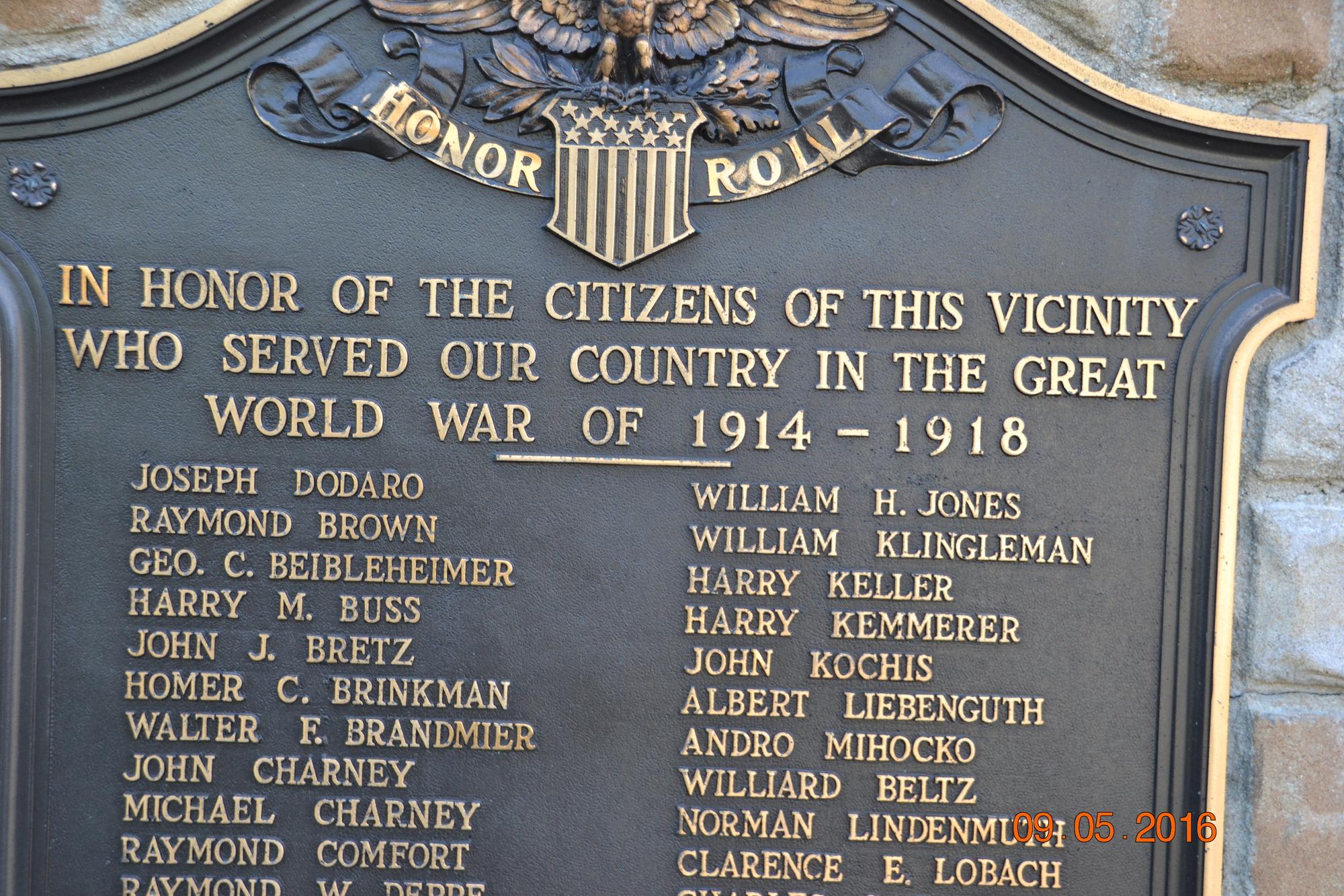 Cementon World War I Honor Roll (PA)