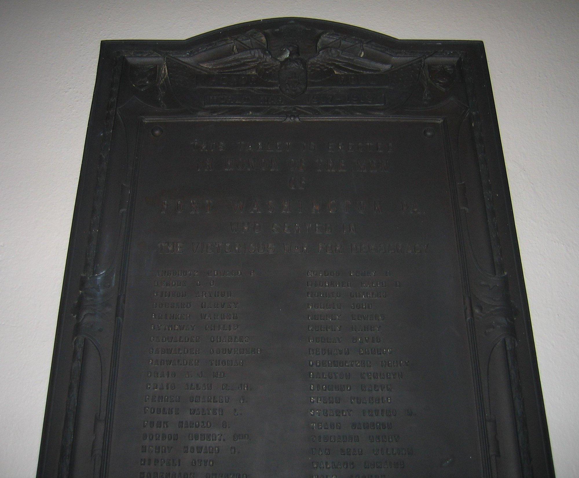 Trinity Lutheran Church World War I Memorial Plaque