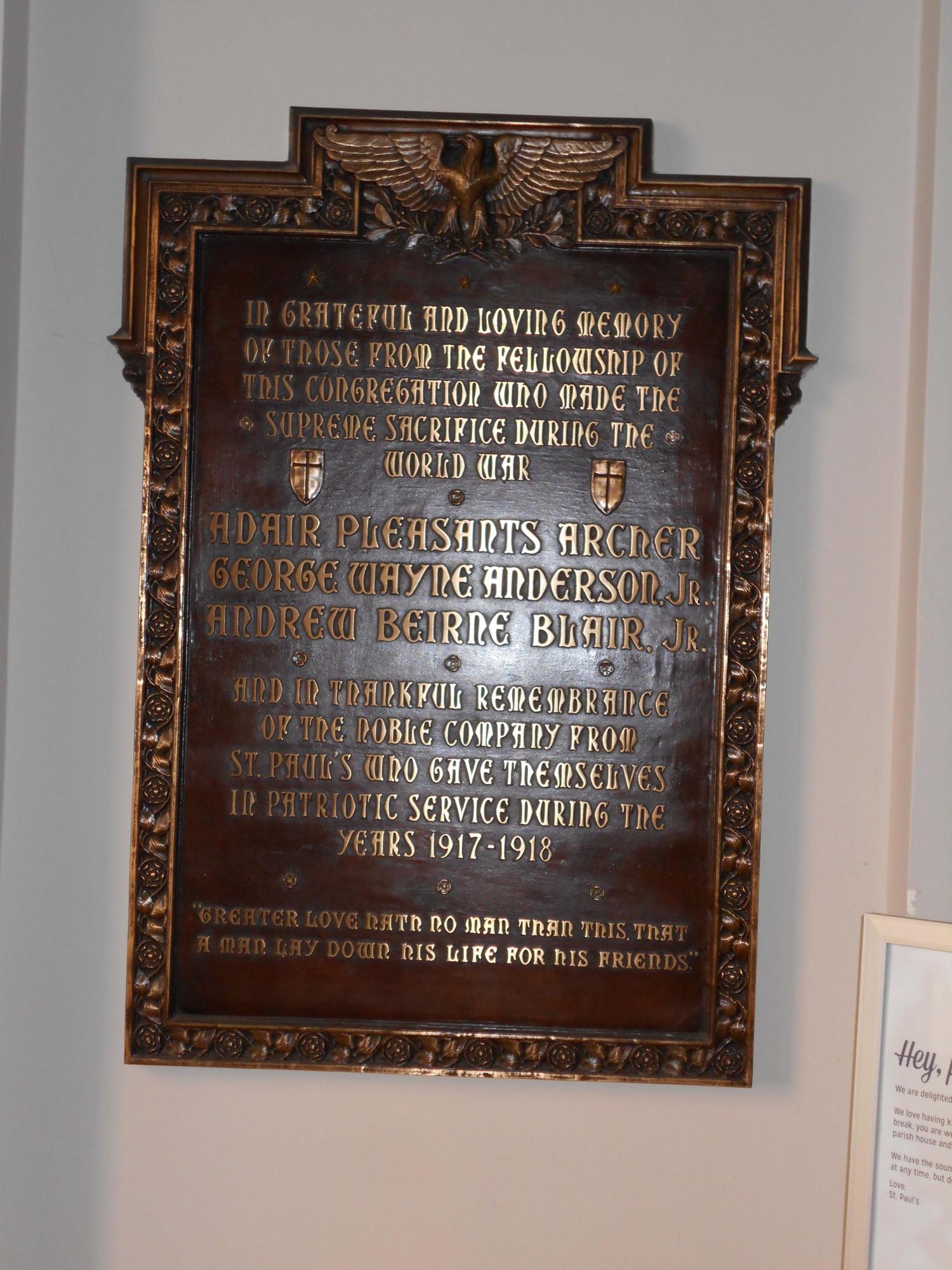 St. Paul's Episcopal Church World War I Memorial Plaque (VA)
