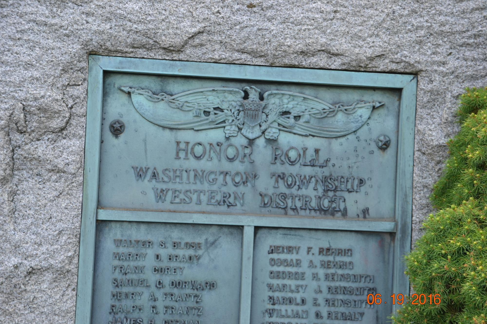Washington Township Western District World War I Honor Roll (PA)