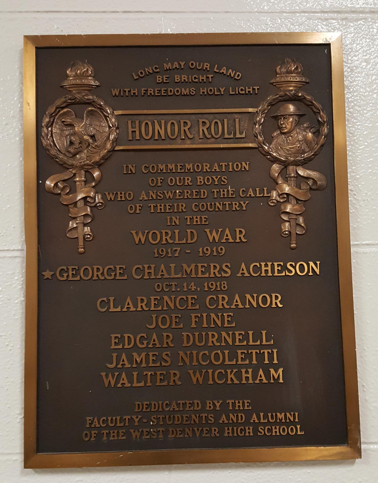 West High School World War I Honor Roll (CO)
