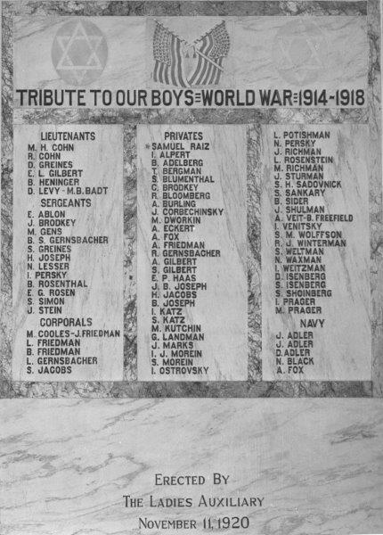Jewish Soldiers of Fort Worth World War I Honor Roll
