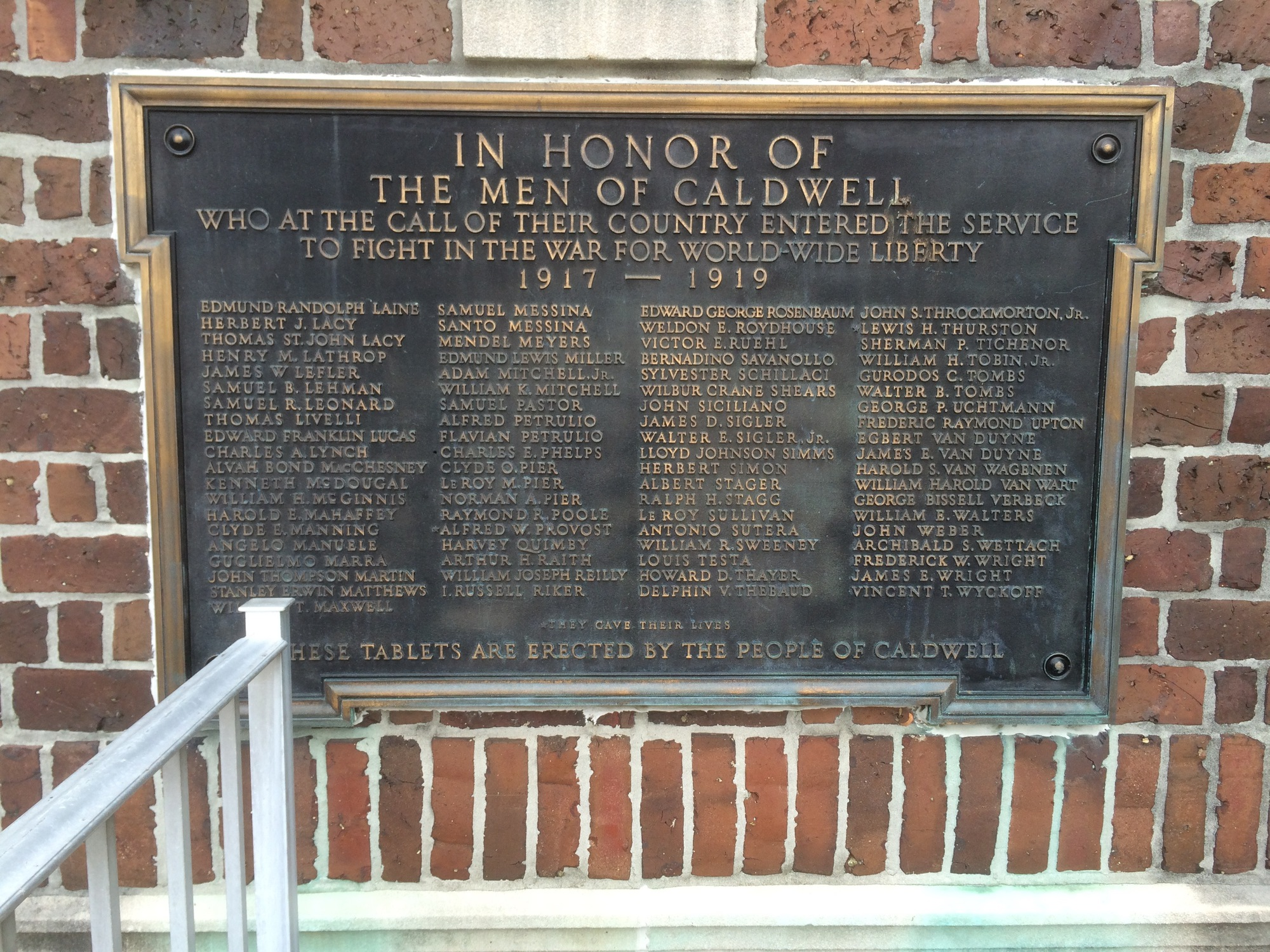 Caldwell World War I Memorial Plaques (NJ)