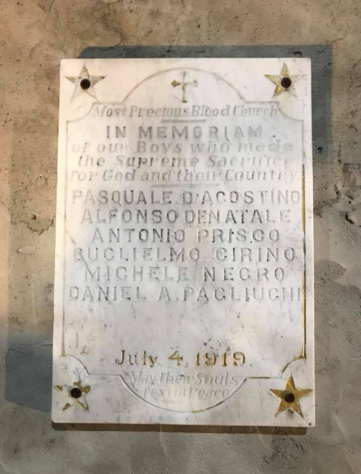 Most Precious Blood Church World War I Memorial Tablet (NY)
