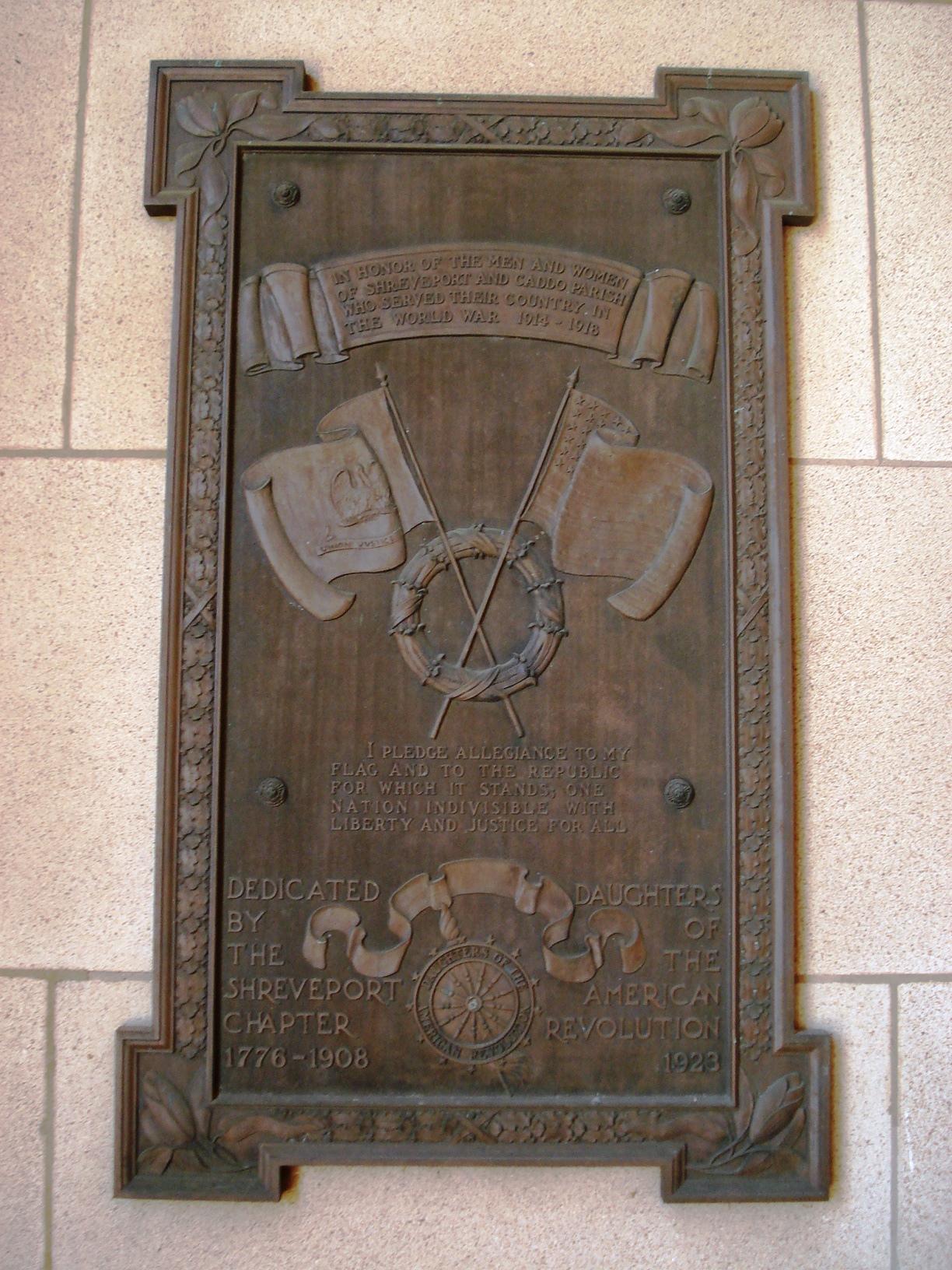 Shreveport World War I Memorial Plaque (LA)
