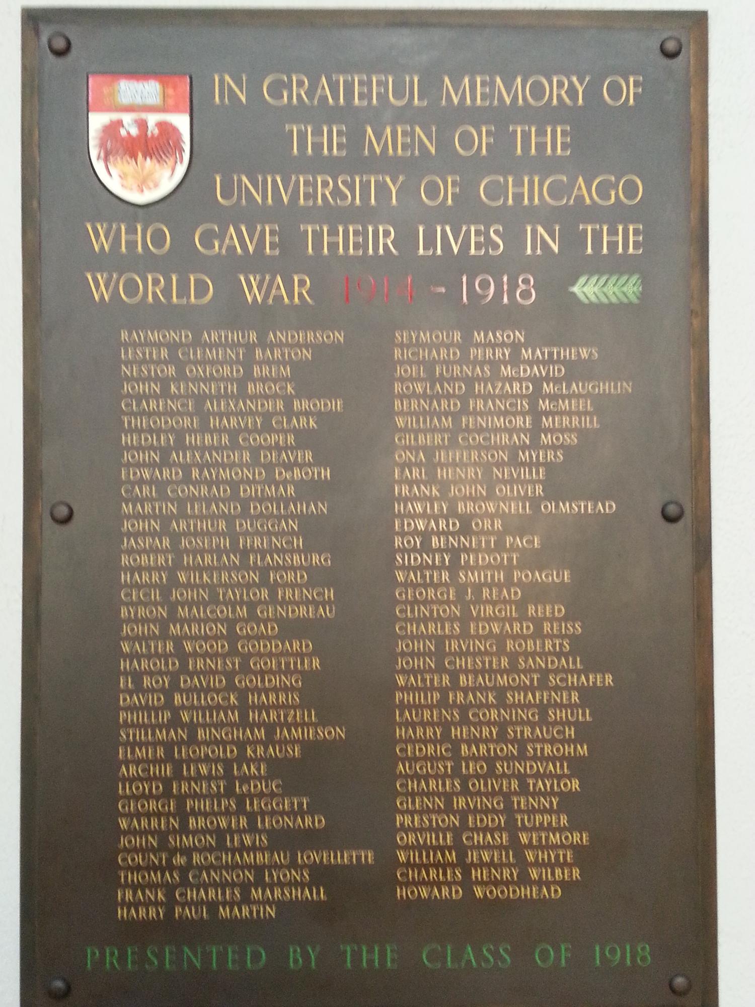 University of Chicago World War Memorial Plaque (IL)