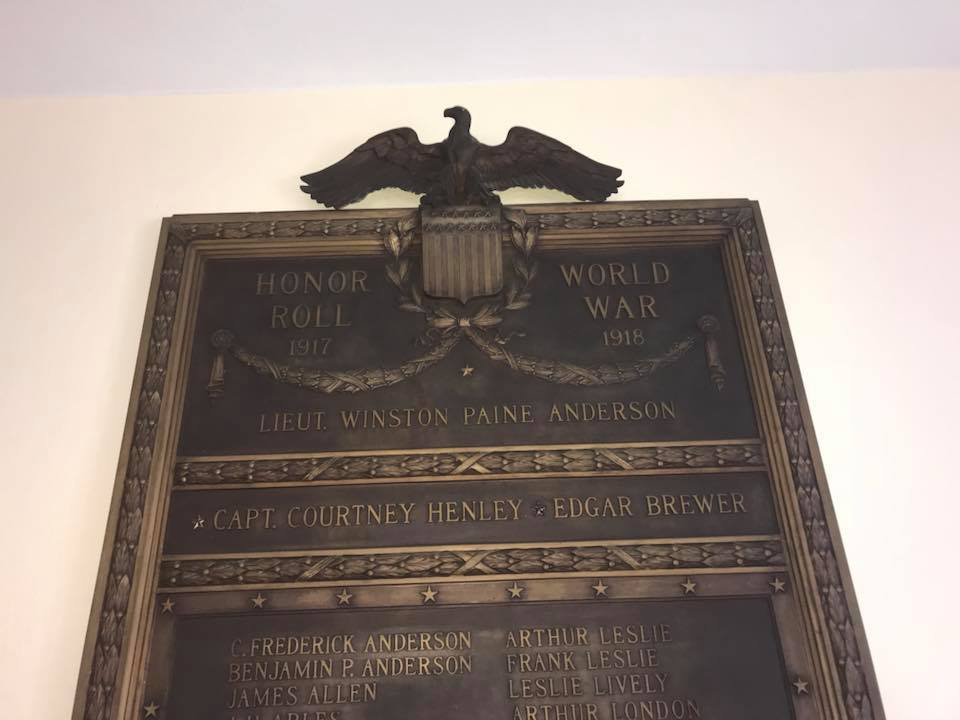 First Presbyterian Church of Birmingham World War I Memorial Plaque (AL)