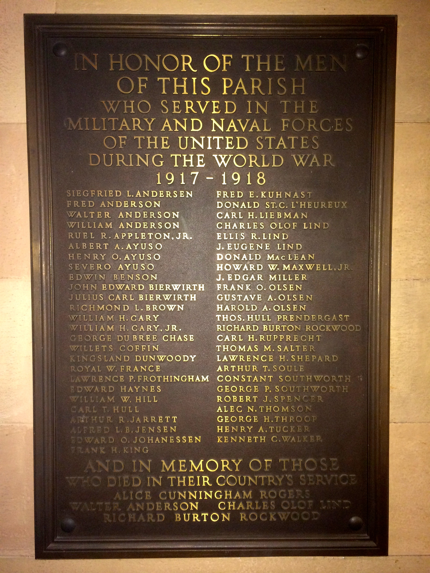 First Unitarian Congregational Society World War I Memorial Plaque  (NY)