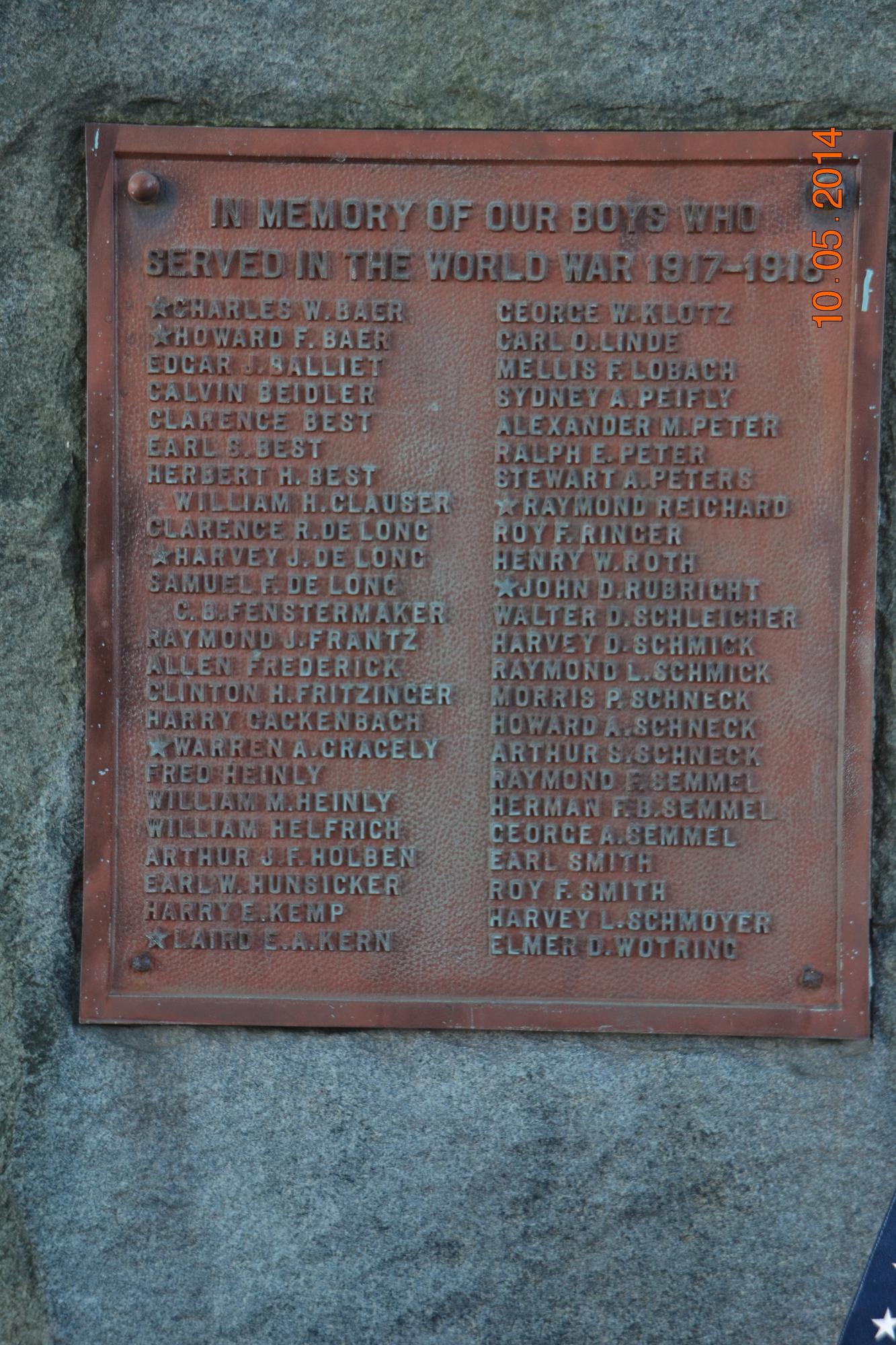 Neffs Union Cemetery World War I Memorial